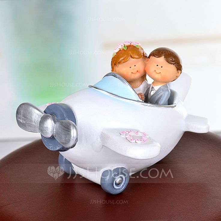 Figurine Classic Theme Airplane White Resin Gift Box Find the toppers to match your wedding theme Perfect for any wedding cake style Wedding Cake Topper Cake Topper