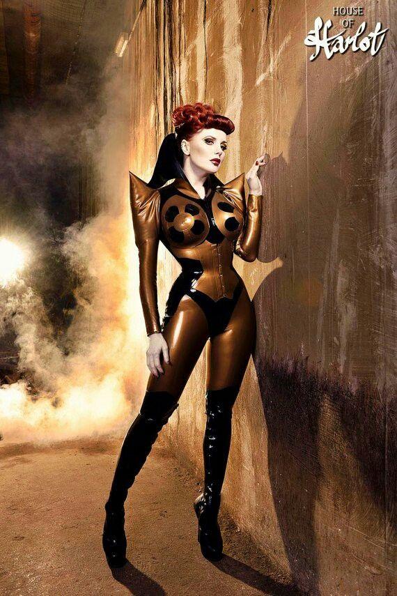 Copper black latex catsuit