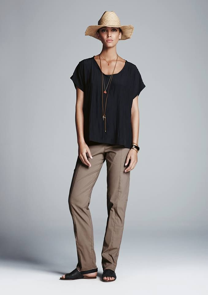 Mela Purdie Cruise Tee (Black) and Travel Pant (Clay)