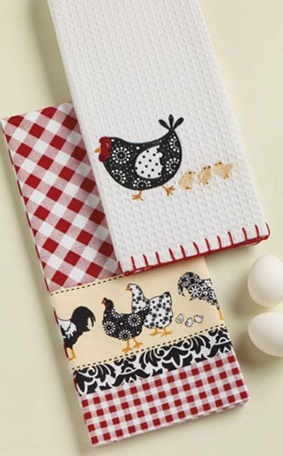 Hens Chicks Embellished Dishtowel, by DII. The Home to Roost Collection features a whimsical theme of chickens in a red, black, cream, and white color palette. This is for the Embellished Dishtowel, a white waffle weave cotton towel with embroidered and applique of a hen and little chicks, and blanket stitched edge (the towel on the top/right). 100% cot...
