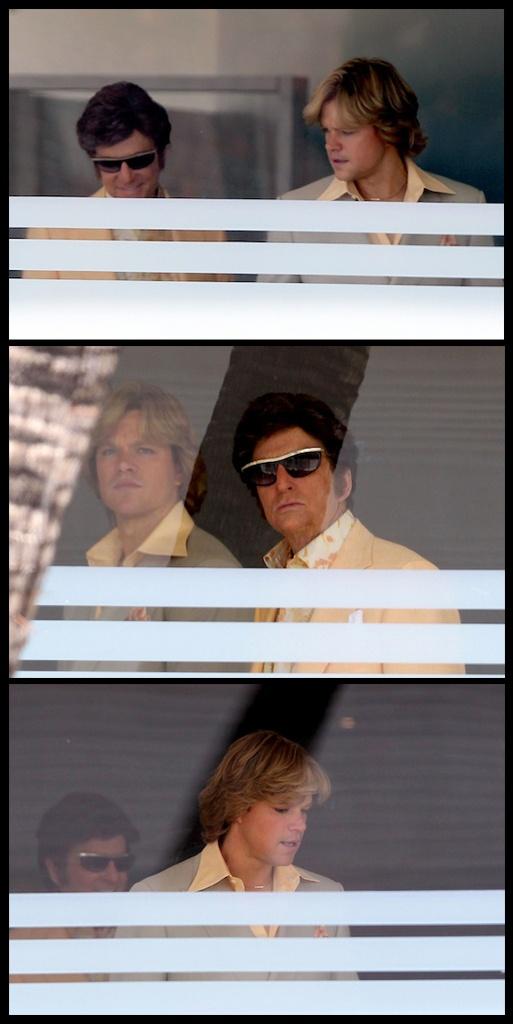 First look at Michael Douglas as Liberace and Matt Damon as Scott Thorson in Steven Soderbergh's Behind the Chandelabra, now filming (2013 release).