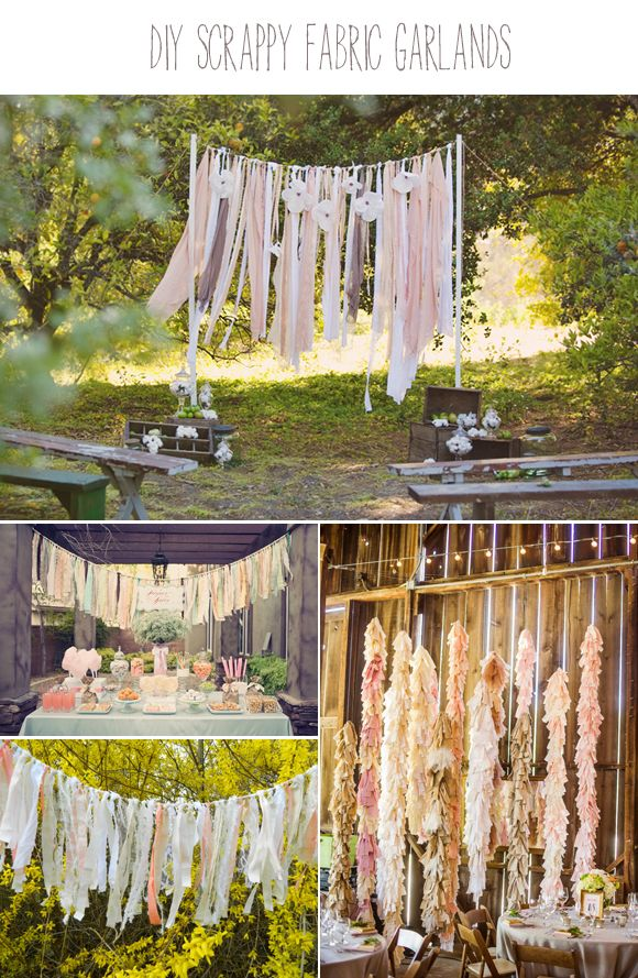 Fabric garlands, tassels and swags