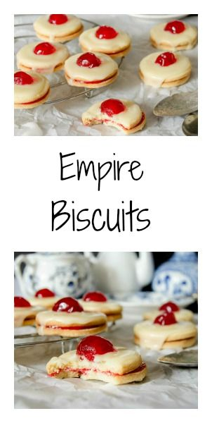 Empire Biscuits - traditional Scottish cookies filled with raspberry jam, glazed and decorated with candied cherries.