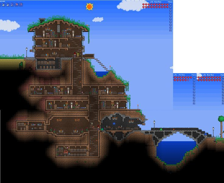 OMG. This would be an amazing Minecraft base for a group of people. Made in Terraria, made for Minecraft.