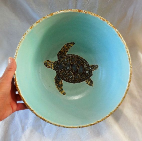 Large sea turtle bowl by RikaBluePottery on Etsy