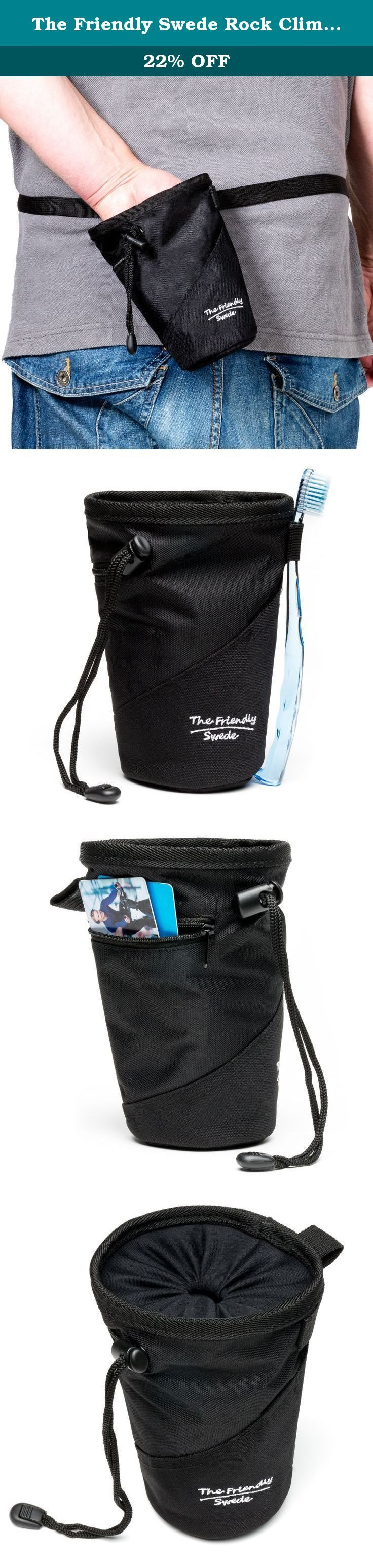 """The Friendly Swede Rock Climbing Chalk Bag with Belt, 2-Pack (Black). The Friendly Swede Chalk Bag USES Chalk has been used for ages to improve different athletes performances. Gymnasts use the chalk to improve their grip on bars, rings or vaulting horses, Weightlifters uses the chalk to improve their grip on the weights and Climbers uses chalk for keeping hands dry and holds secure when climbing indoors and out. SIZE The bag has a top diameter of 4.7"""" (12 cm), a bottom diameter of 3"""" (8…"""
