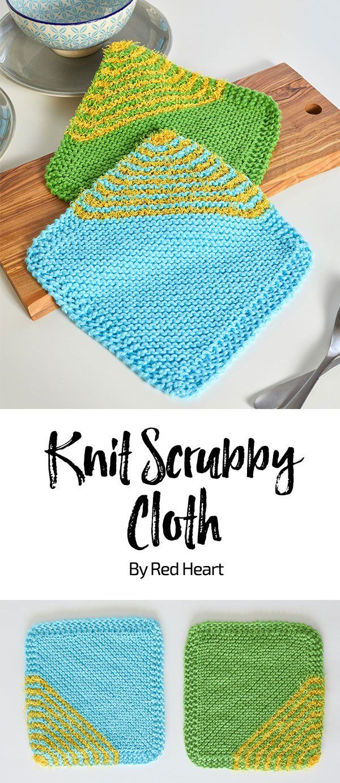Knit Scrubby Cloth padrão de malha livre em Smoothie Scrubby e fio Scrubby. Estes...