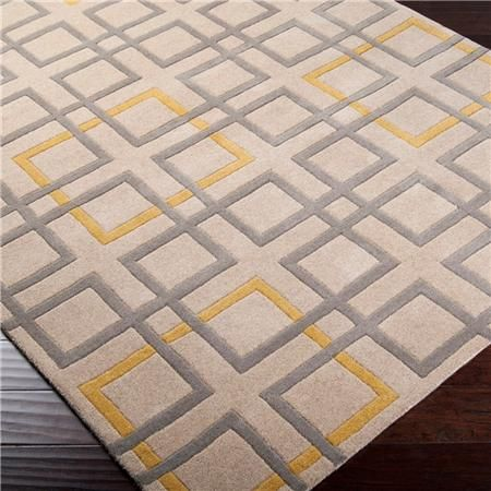 Beige Gray and Yellow Geometric Simplicity Hand-Tufted Rug