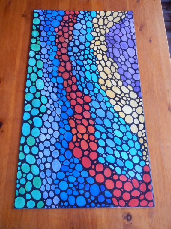 Hand Painted floor cloth by CoCreativeLeigh on Etsy, $140.00