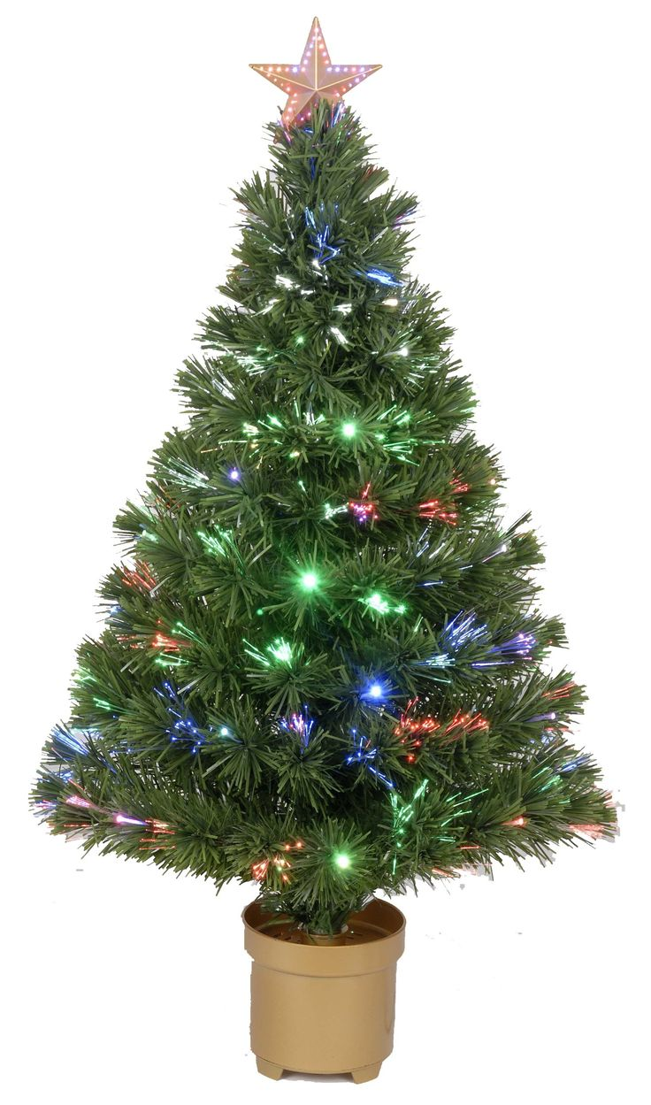 """Jolly Workshop Multi-Color LED Fiber 125 Tips 11-Ply Optic Tree Top Star 20 LED's with Gold Base, 36-Inch. 36 Inch high (from base). Fiber Optic Trees. 20"""" Diameter."""