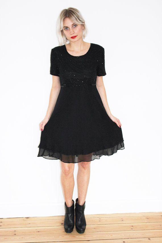 Black beaded baby doll dress by CirkusVintageCph on Etsy