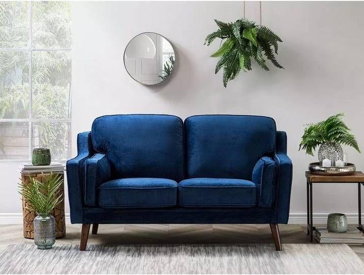 Beliani 2 Sitzer Sofa Polsterbezug Dunkelblau Lokka In 2020 Blue Velvet Sofa Velvet Sofa Elegant Sofa