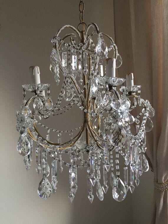 Free Shipping Vintage Crystal Chandelier Italian Glass Chandelier Beaded Chandelier One Of A Vintage Crystal Chandelier Crystal Chandelier Beaded Chandelier