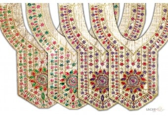 his Neck Designs ( neck design for punjabi suits ) comes with Embroidery , Sequence decoration widely used by Apparel & Clothing Industry