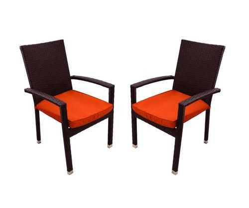 Set of 2 Black Resin Wicker Outdoor Patio Furniture Dining Chairs - Orange Cushions