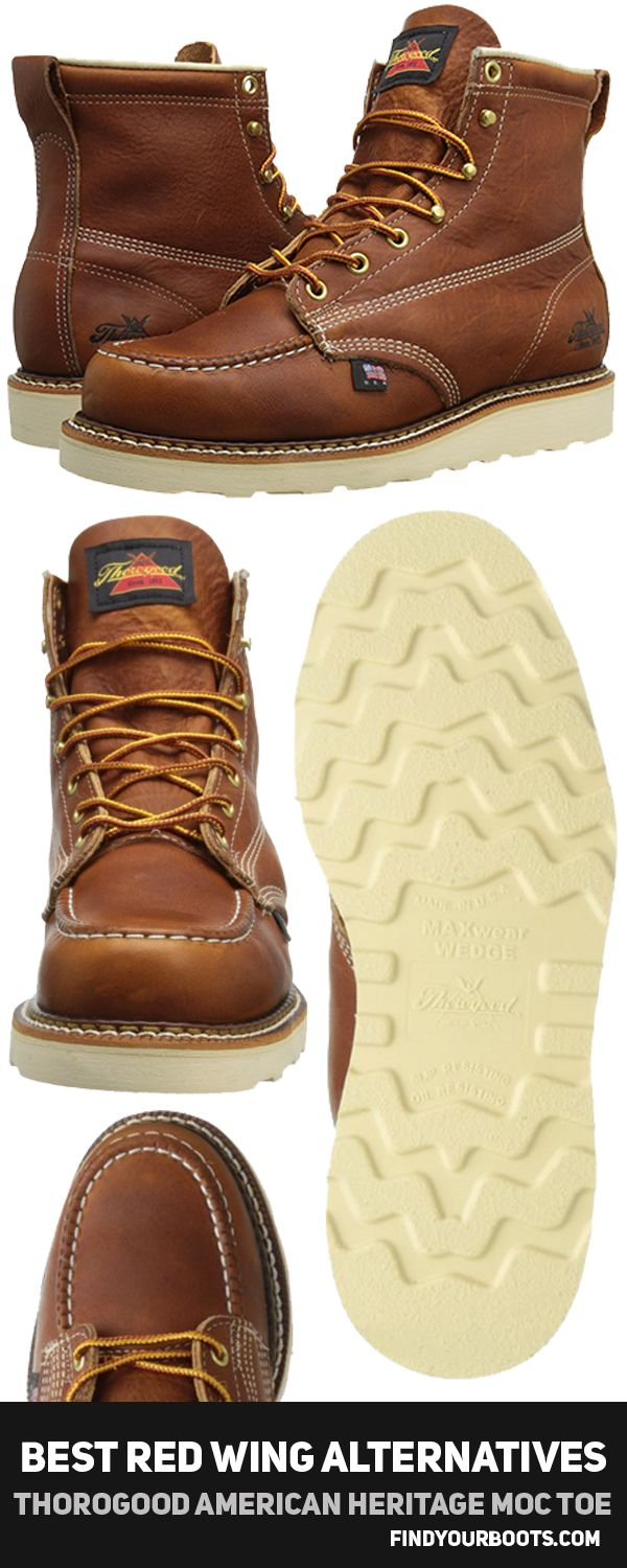 Thorogood American Heritage Moc Toe mens boot - Cheaper alternative to Red Wing Classic Moc boots - http://www.findyourboots.com/cheaper-alternatives-to-red-wing-heritage-boots/