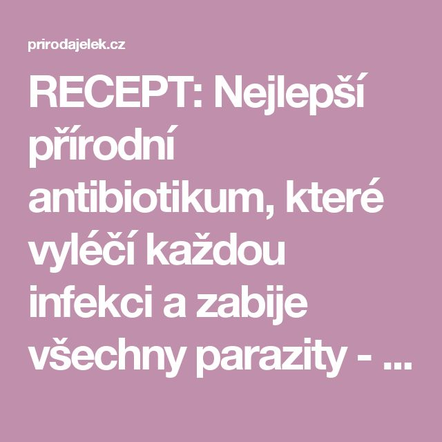 RECEPT: Nejlepší přírodní antibiotikum, které vyléčí každou infekci a zabije všechny parazity - Strana 2 z 2 - Příroda je lék