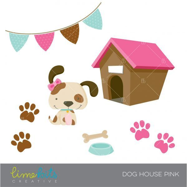 Embroidery On Paper Lb Ca Dog House Pink 02 Dog House Pink