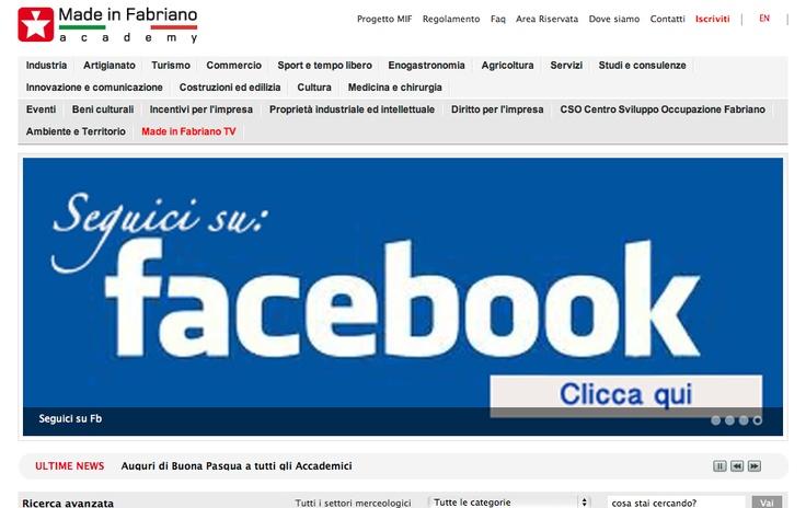 Schermata sito internet Made in Fabriano dove si trovano i profili delle 300 realtà imprenditoriali e news su eventi nella cittadina marchigiana.