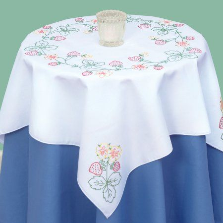 Jack Dempsey Stamped White Perle Edge Table Topper 35X35-Valentines Day