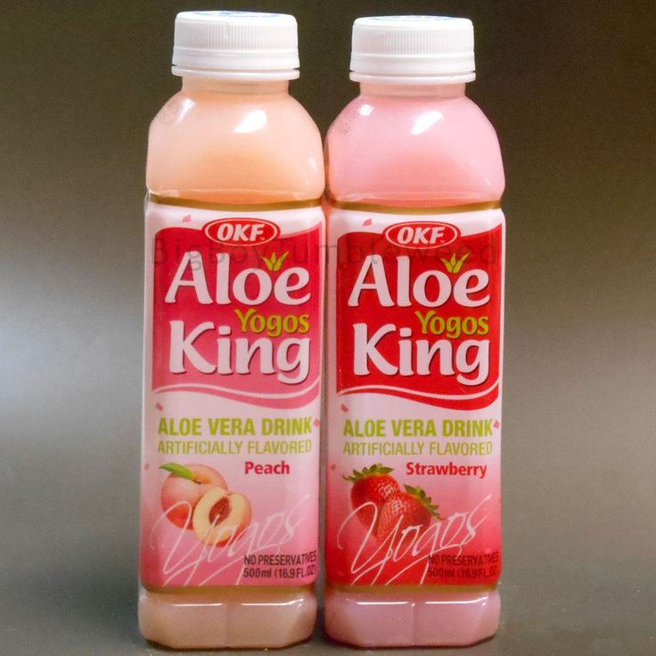 OKF 2 pc Aloe King YOGOS Strawberry & Peach Aloe Vera Drink juice 16.9 oz fruit #OKF
