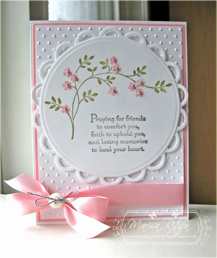 "2/1/2013; Marisa at 'Rosemary Reflections' blog; Thoughts and Prayers stamp set; this is a sympathy card, however change the greeting and it will make a lovely ""Thinking of You,"" or, ""B-day"" card"