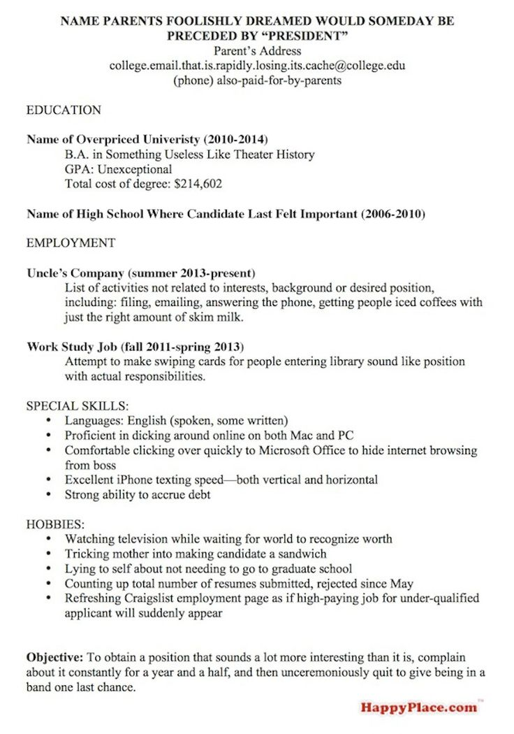 A resume template for every recent college grad currently looking - emailing a resume