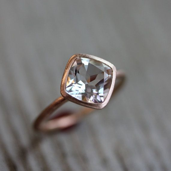 White Topaz And 14k Recycled Rose Gold Solitaire by onegarnetgirl