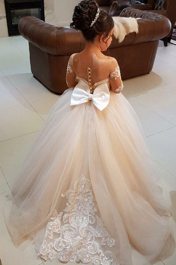Ball Gown Girl Dresses,Round Neck Flower Girl Dresses,Light Champagne Girl Dresses,Cute Flower Girl Dresses