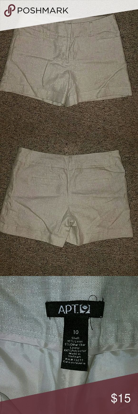 Cream sparkle shorts Apt 9 size 10 cream sparkle shorts in new condition! Super cute for summer! Apt. 9 Shorts