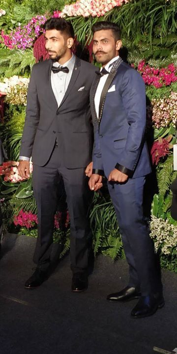 Jasprit Bumrah & Ravindra Jadeja at Virat Kohli's wedding reception in Mumbai - http://ift.tt/1ZZ3e4d