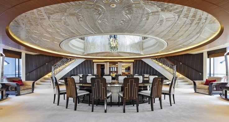 Formal Dining onboard  68m Abeking & Rasmussen MY/Aviva Exterior Design Reymond Langton Design