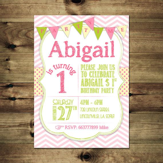 Girl 1st Birthday Invitation Bday_inv_015 by PapierMignonID