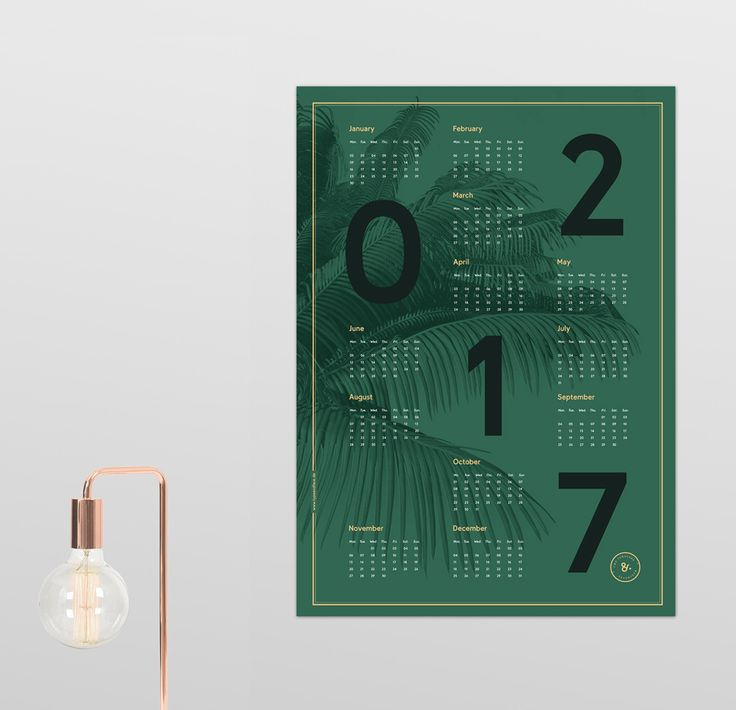New beautiful dark green poster 2017 calendar poster in the size of 50 x 70 cm with nice big bold typography and golden golden and peach colored elements. The background shows a detailed palm leaf illustration. You can order one here: www.typeandface.de