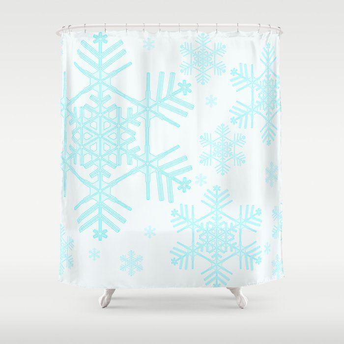 Snowflake 6 Shower Curtain Curtains Printed Shower Curtain