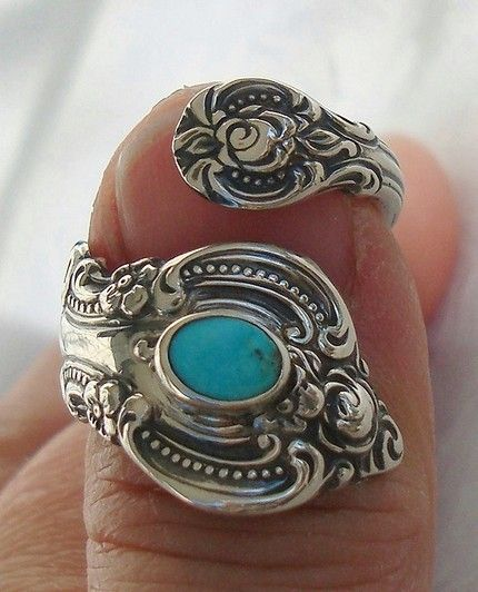 want: spoon ring with turquoise. love!