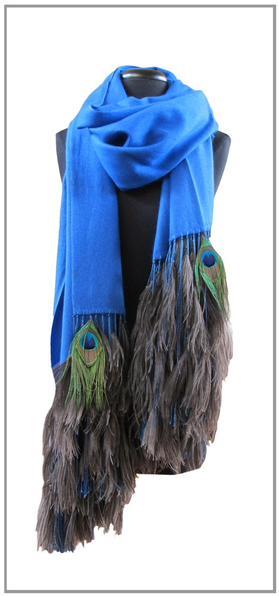 Blue Stole with Ostrich and Peacock Feathers.  We deliver worldwide. Order now through sales@annatrzebinski.com or call the Aspen Store today on (970) 925 2848.