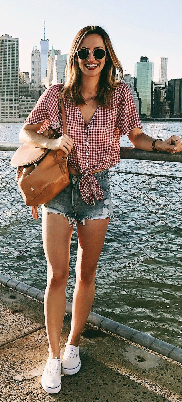 #summer #outfits Red Gingham Blouse + Ripped Denim Short + White Converse // Shop this exact outfit in the link
