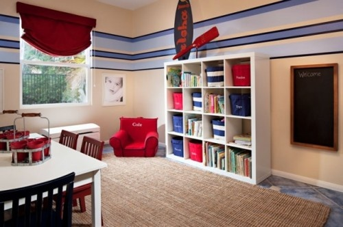 Kids Playroom contemporary kids.  Simple and would work well in an office/playroom situation.