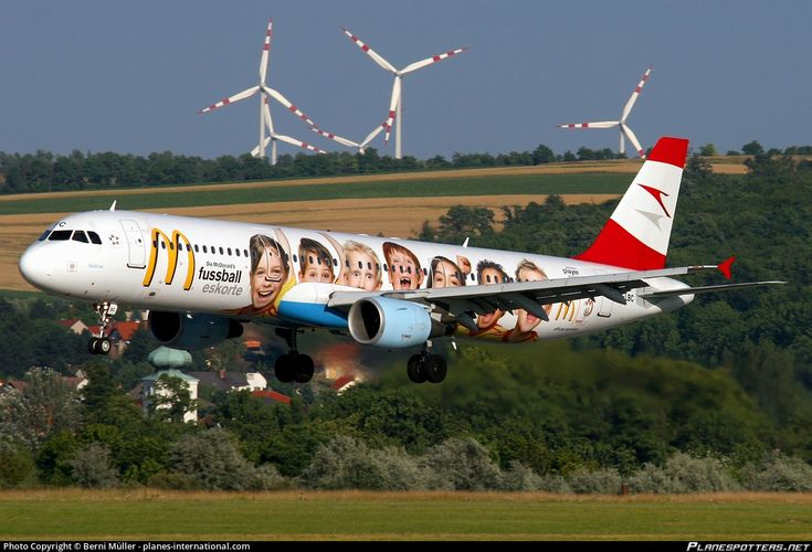 Austrian Airlines Airbus A321-111 OE-LBC aircraft, named ''Sudtirol'', painted in ''Mc Donalds/EURO 2008'' special colours Dec 2007 - Oct 2008, landing at Austria Vienna Schwechat International Airport. 28/06/2008.