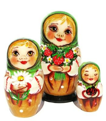 Cute portraits of a little girl holding gifts for mom are hand painted on a set of 3 Russian nesting dolls. Limited stock. Low price. Buy and save now.