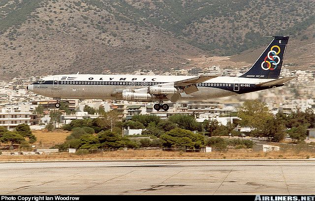 "Olympic Airways Boeing 707-384B SX-DBE ""City of Pella"" on short final approach for 33R at Athens-Ellinikon, September 1989. (Photo: Ian Woodrow)"