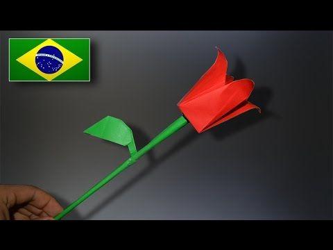 Origami: Flor / Tulipa - Instruções em Português BR - YouTube