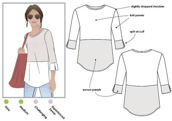 Annika Top  Sizes 10 12 14  PDF sewing pattern by Style