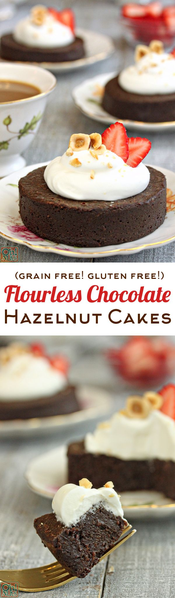 Flourless Chocolate Hazelnut Cakes - grain-free, gluten-free cakes made with hazelnuts and LOTS of chocolate! Rich, fudgy, and ultra-chocolatey, these little cakes are for seriou chocoholics!