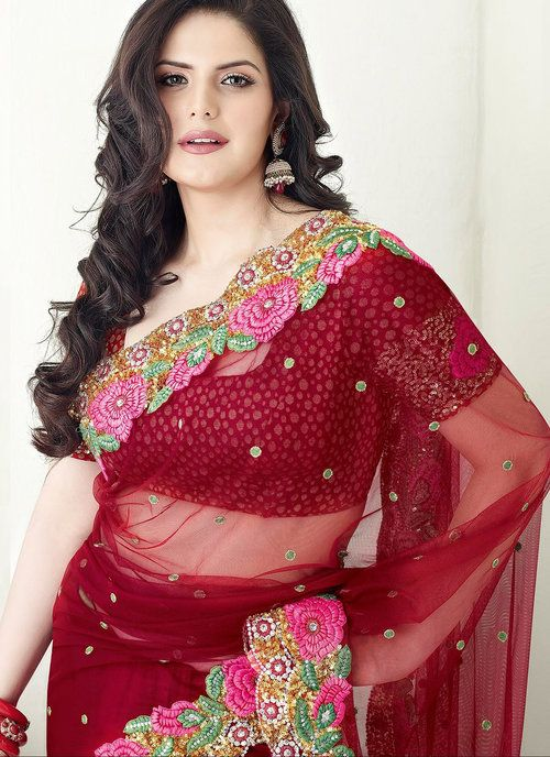 Red Georgette and Net Saree Zarine Khan Collection