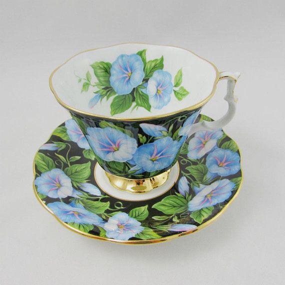 Royal Albert Morning Glory Tea Cup And Saucer Flora Series Tea Cups Bone China Tea Cups Vintage Bone China