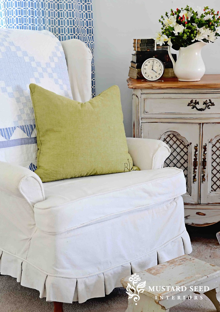 MISS MUSTARD SEED : 6 Part Video Tutorial, Diy Slipcover Tutorial, Wing  Chair Slipcover. Slip Cover, Sewing Tutorial, How To Make A Slipcover