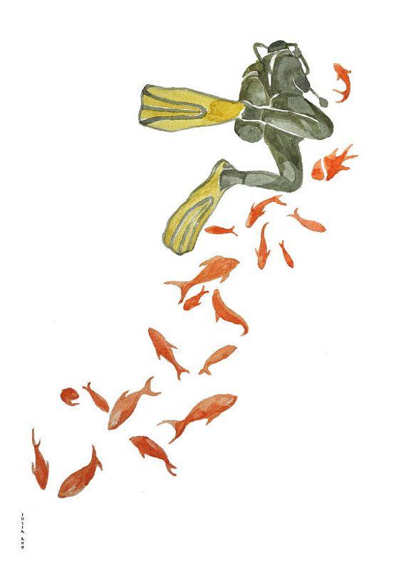 la plongée en mer rouge dessin d'aquarelle par ArtandSpirits