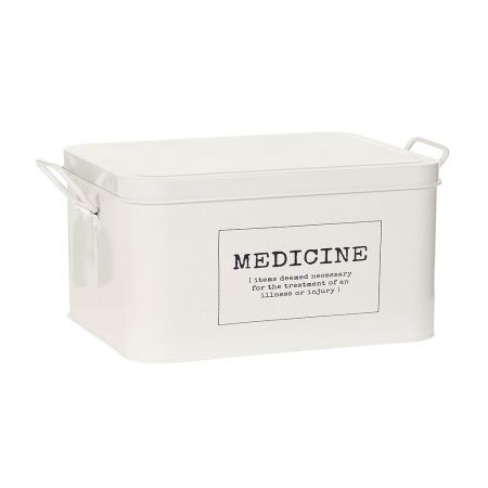 Medicine Box White, $39.95 Build your own first aid kit with this classic designed Medical Box. Complete with a removable tray, detachable lid and two easy-carry handles, this durable white powdercoated metal box will keep your essential 'go-to' medical items organised. Available at Howards Storage World.